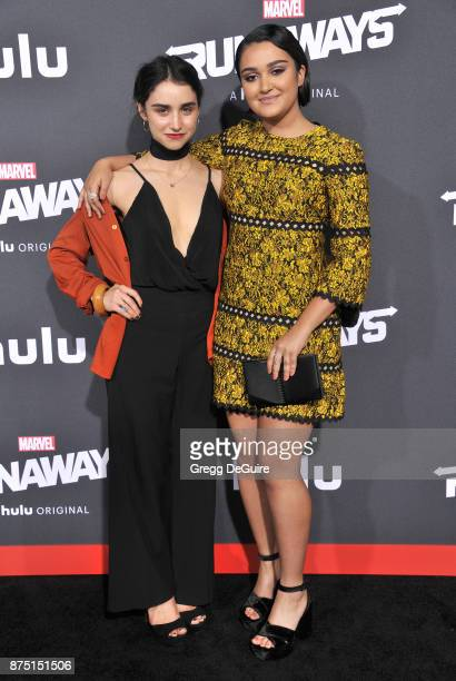 Ariela Barer and sister arrive at the premiere of Hulu's Marvel's Runaways at Regency Bruin Theatre on November 16 2017 in Los Angeles California