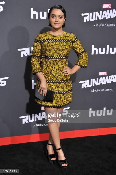 Ariela Barer arrives at the premiere of Hulu's 'Marvel's Runaways' at Regency Bruin Theatre on November 16 2017 in Los Angeles California