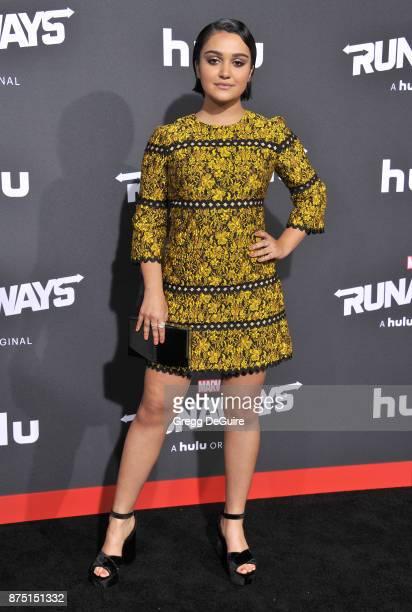 Ariela Barer arrives at the premiere of Hulu's Marvel's Runaways at Regency Bruin Theatre on November 16 2017 in Los Angeles California