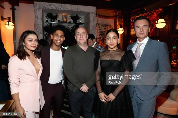 Ariela Barer Rhenzy Feliz Jeph Loeb Allegra Acosta and Julian McMahon attend the 2018 Hulu Holiday Party at Cecconi's Restaurant on November 16 2018...