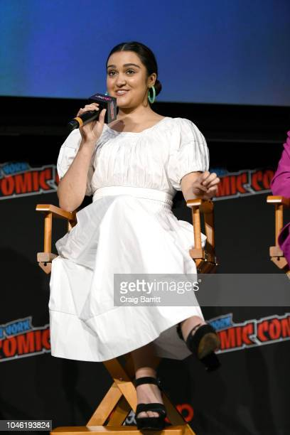 Ariela Barer speaks onstage at the Marvel's Runaways panel during New York Comic Con 2018 at The Hulu Theater at Madison Square Garden on October 5...
