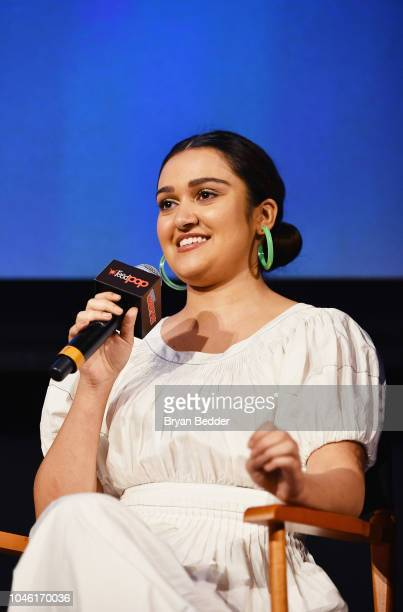 Ariela Barer speaks onstage during Hulu's 'Runaways' panel at 2018 New York Comic Con at The Theater at Madison Square Garden on October 5 2018 in...