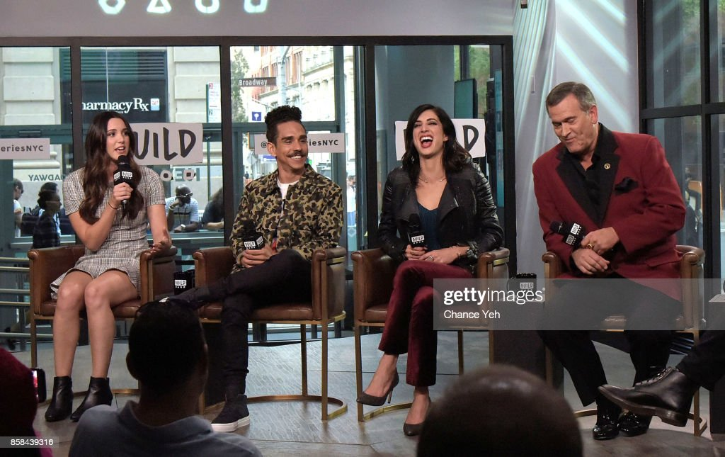 , Arielle Carver-O'Neill, Ray Santiago, Dana DeLorenzo and Bruce Campbell attend Build series to discuss 'Ash Vs Evil Dead' at Build Studio on October 6, 2017 in New York City.