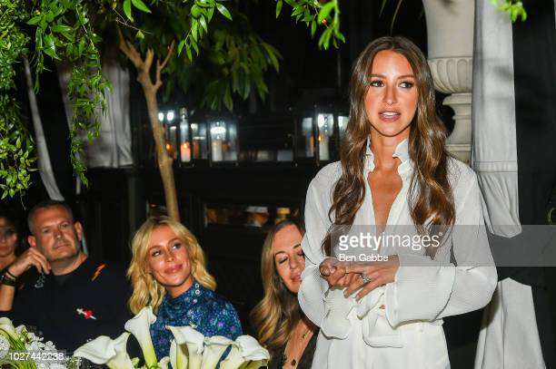 Arielle Charnas delivering remarks at Nordstrom's SOMETHING NAVY Brand Launch Dinner At The Gramercy Park Hotel on September 5 2018 in New York City