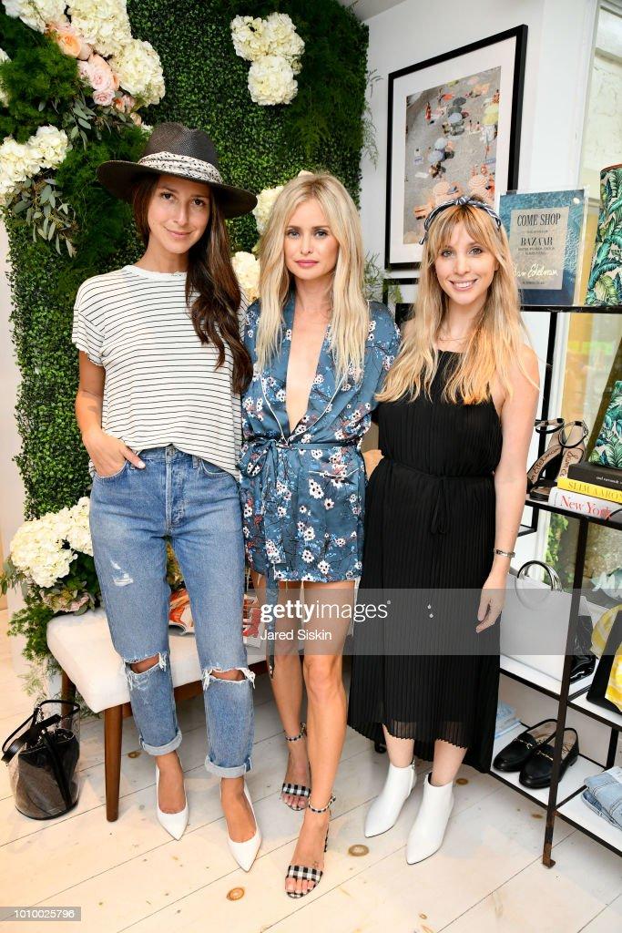 Arielle Charnas, Natalie Obradovich and Kerry Pieri attend Harper's BAZAAR X Sam Edelman Mid-Summer Hamptons Event on August 2, 2018 in Southampton, New York.