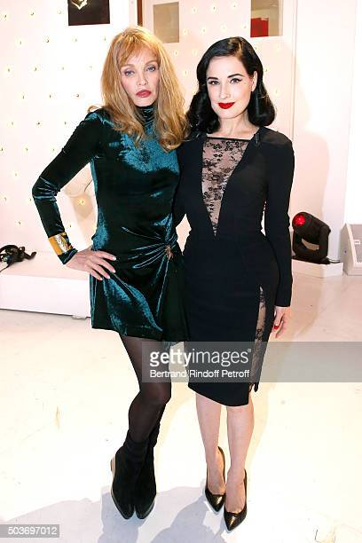 Arielle Dombasle and Dita Von Teese who presents her futur show 'Dita's Crazy Show' which will be performed at 'Crazy Horse' from 15 to 30 March 2016...