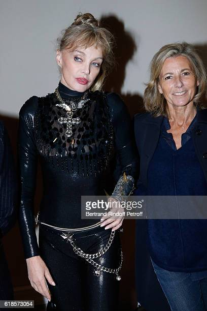 Arielle Dombasle and journalist Claire Chazal attend Arielle Dombasle performs for the release of the Album 'La Riviere Atlantique' 'Noche de los...