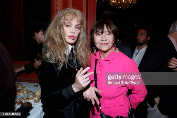 """Arielle Dombasle and Macha Meril attend Bernard-Henri Levy performs in """"Looking for Europe"""" at Theatre Antoine on May 21, 2019 in Paris, France."""