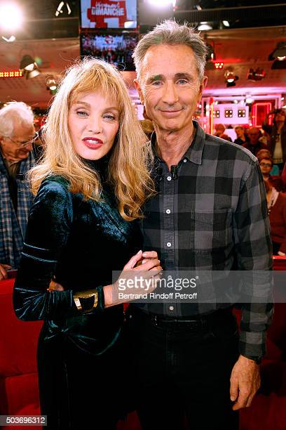 Arielle Dombasle and Main Guest of the show Sponsor of 'Fondation Recherche Medicale' and Actor Thierry Lhermitte attend the 'Vivement Dimanche'...