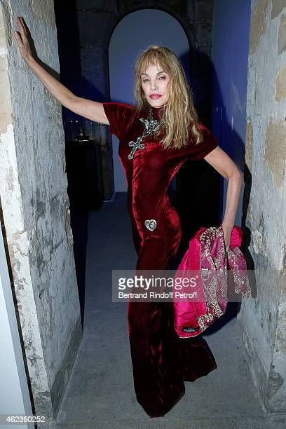 Arielle Dombasle attends the launch of Elie Top first Mechanique Celestre collection at Gallerie Mitterrand on January 27 2015 in Paris France