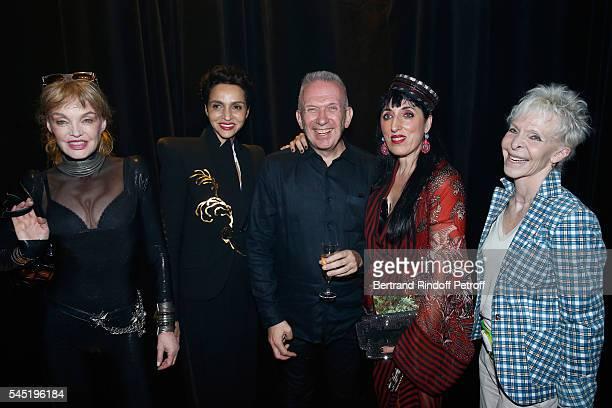 Arielle Dombasle Farida Khelfa Seydoux stylist Jeanpaul Gaultier Rossy de Palma and Tonie Marshall pose after the Jean Paul Gaultier Haute Couture...