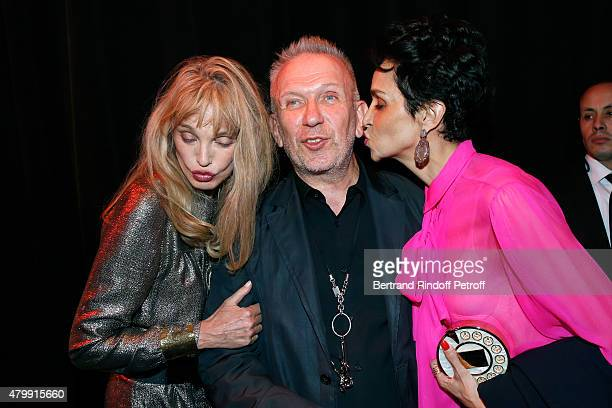 Arielle Dombasle Fashion Designer JeanPaul Gaultier and Farida Khelfa pose Backstage after the Jean Paul Gaultier show as part of Paris Fashion Week...