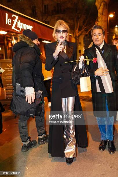 Arielle Dombasle is seen outside the JeanPaul Gaultier show during Paris Fashion Week Haute Couture Spring/Summer 2020 on January 22 2020 in Paris...