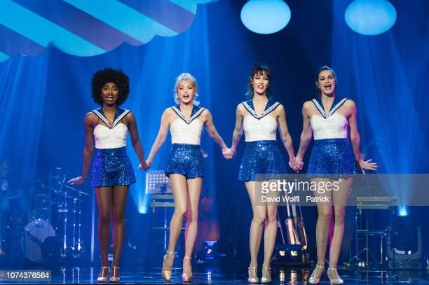 Arielle Dombasle Mareva Galanter Inna Modja and Helena Noguerra from Les Parisiennes perform at L'Olympia on December 19 2018 in Paris France