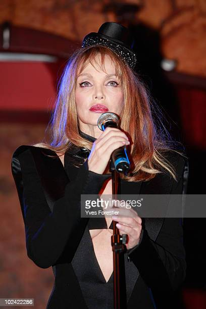 Arielle Dombasle participates to the auction of the Amfar inspiration night at Maxim's on June 25 2010 in Paris France