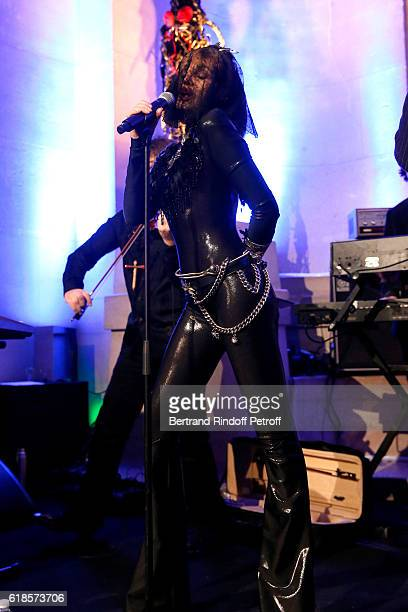 Arielle Dombasle performs for the release of the Album La Riviere Atlantique Noche de los muertos event during the Mexico 19001950 Exhibition held at...