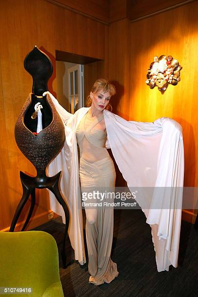 Arielle Dombasle presents her Perfume Le secret d'Arielle at Galerie Pierre Passebon on February 16 2016 in Paris France
