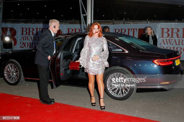Arielle Free arrives in an Audi for the BRIT Awards at The O2 Arena on February 21 2018 in London England