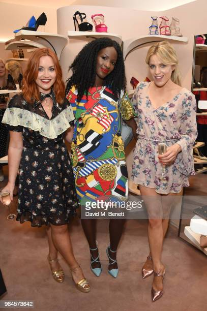 Arielle Free guest and Olivia Cox attend the Kurt Geiger London Boutique launch at Selfridges on May 31 2018 in London England