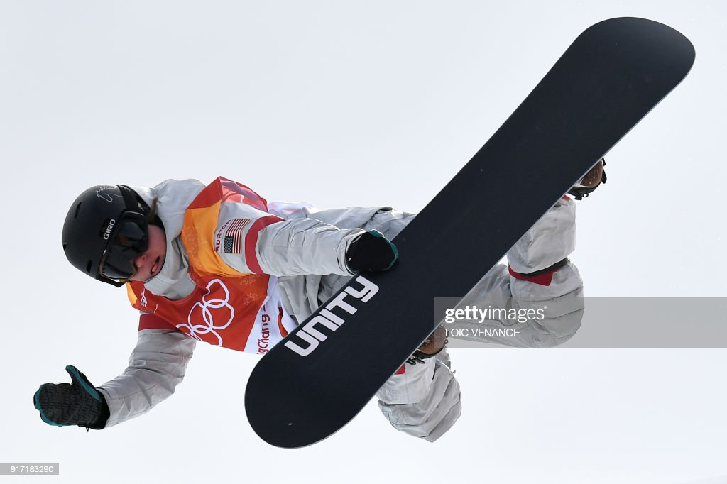 Arielle Gold competes during qualification of the women's snowboard halfpipe at the Phoenix Park during the Pyeongchang 2018 Winter Olympic Games on February 12, 2018 in Pyeongchang. /