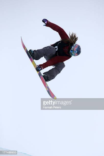 Arielle Gold of the USA competes during FIS Snowboard Halfpipe World Cup Finals on day 10 of the Winter Games NZ at Cardrona Alpine Resort on August...