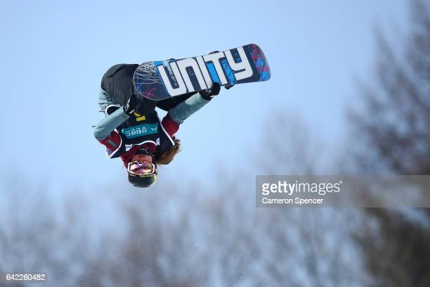 Arielle Gold of USA competes in the FIS Freestyle World Cup Snowboard Ladies Halfpipe Qualification at Bokwang Snow Park on February 17 2017 in...