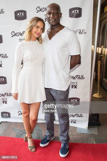 Arielle Kebbel and Peter Mensah attend the ATX Television Festival at The Paramount Theater on June 8 2017 in Austin Texas