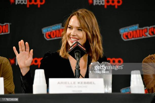 Arielle Kebbel speaks onstage during the Lincoln Rhyme: Hunt for the Bone Collector panel at New York Comic Con 2019 Day 3 at Jacob K. Javits...