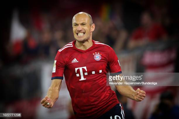 Arien Robben of Muenchen celebrates scoring a goal during the Bundesliga match between FC Bayern Muenchen and TSG 1899 Hoffenheim at Allianz Arena on...
