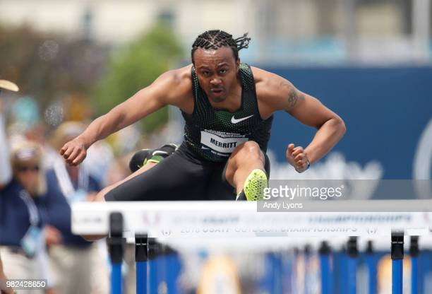 Aries Merritt clears a hurdle in the opening round of the Mens 110 Meter Hurdles during day 3 of the 2018 USATF Outdoor Championships at Drake...