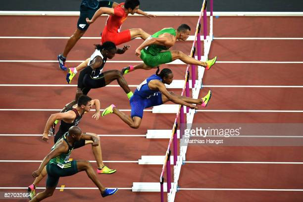 Aries Merritt of the United States and Balazs Baji of Hungary compete in the Men's 110 metres hurdles semi final during day three of the 16th IAAF...