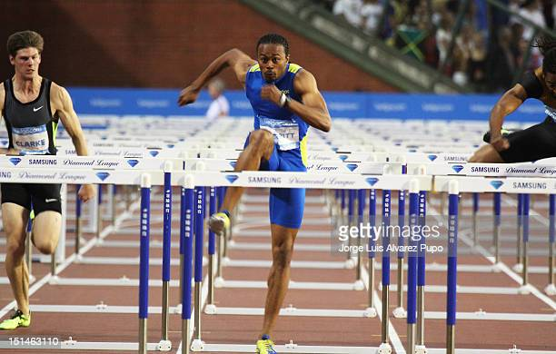 Aries Merritt of the United States competes during the Men's 110m Hurdles as part of the IAAF Golden League meeting and sest a new World Record of...