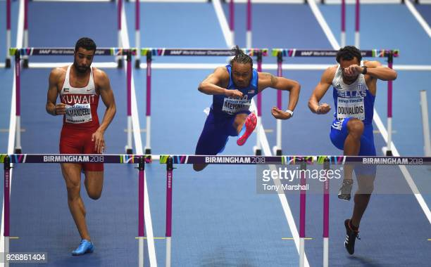 Aries Merritt of the United States competes in the Men's 60m Hurdles heats during Day Three of the IAAF World Indoor Championships at Arena...