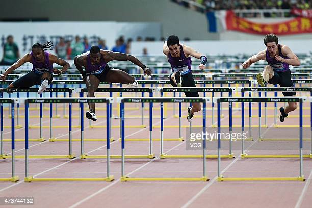 Aries Merritt of the United States David Oliver of the United States Xie Wenjun of China and Sergey Shubenkov of Russia compete in the men's 110m...