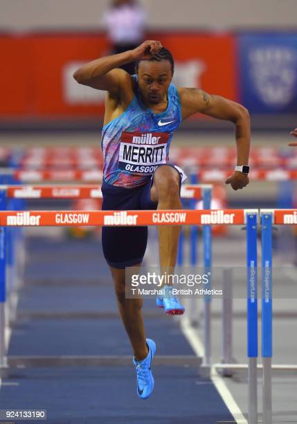 Aries Merritt of the United States in action in the Men's 60m Hurdles during the Muller Indoor Grand Prix event on the IAAF World Indoor Tour at the...