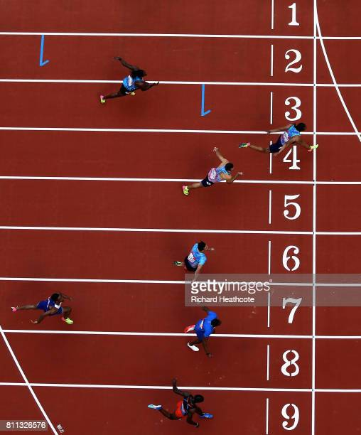 Aries Merritt of The United States wins the mens 100m final during the Muller Anniversary Games at London Stadium on July 9 2017 in London England