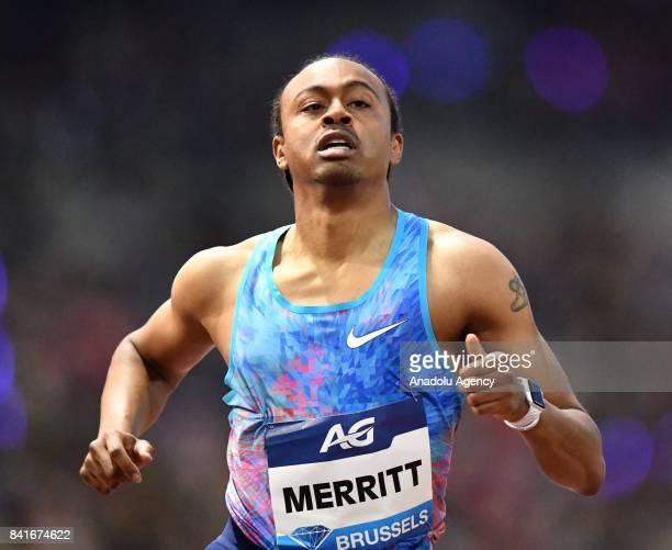 Aries Merritt of the US competes in the Mens 110 metres hurdles during the IAAF Diamond League Memorial Van Damme at King Baudouin Stadium in...
