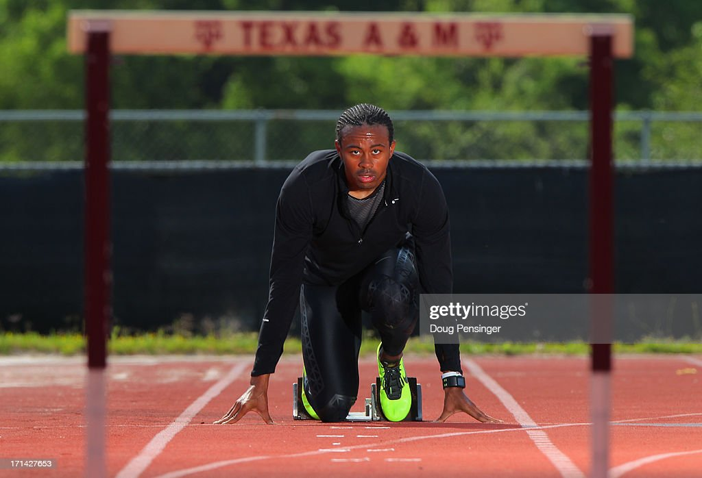Aries Merritt of the USA Track and Field Team trains on the campus of Texas A&M on April 9, 2013 in College Station, Texas. Merritt is the reigning Olympic Gold Medalist and World Record holder in the 110m hurdles.