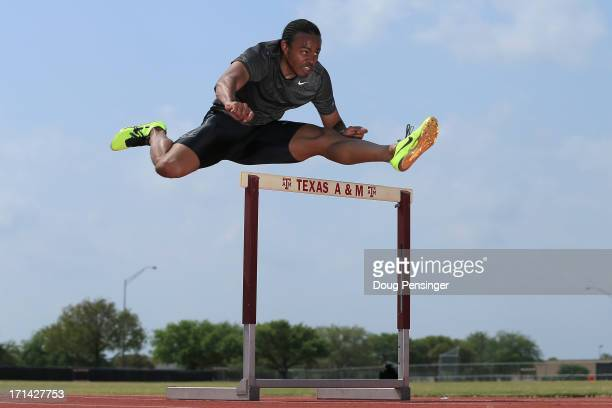 Aries Merritt of the USA Track and Field Team trains on the campus of Texas A&M on April 9, 2013 in College Station, Texas. Merritt is the reigning...