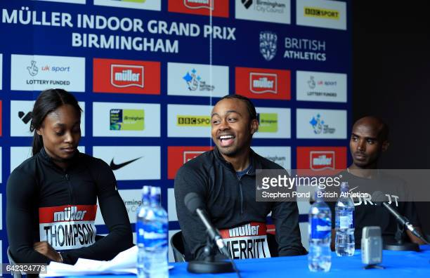 Aries Merritt of USA during a photo call ahead of the Muller Indoor Grand Prix 2017 at the Barclaycard Arena on February 17 2017 in Birmingham England