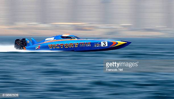 Arif Al Zaffain and Nadir Bin Hendi of Victory Team race for pole position during the Fujairah Grand Prix the first round of the UIM XCAT World...