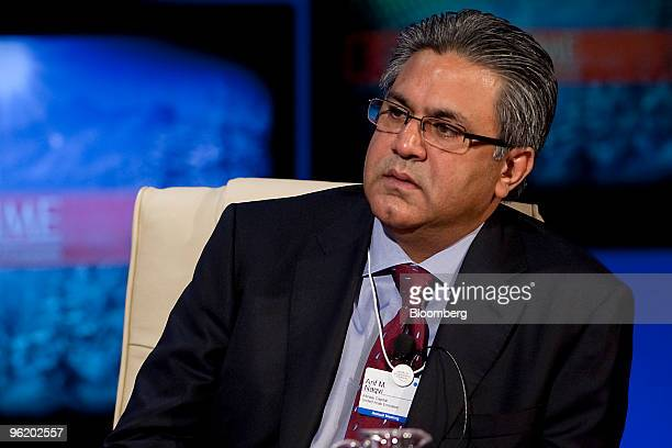Arif M Naqvi founder and chief executive officer of Abraaj Capital Ltd of the United Arab Emirates listens during a panel discussion on day one of...