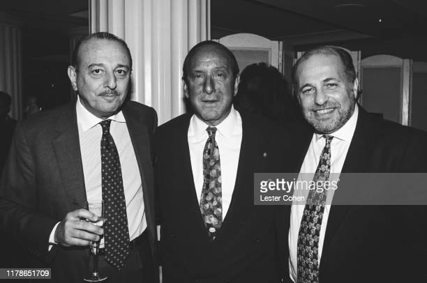 Arif Mardin Clive Davis and Doug Morris attend a party circa 1988