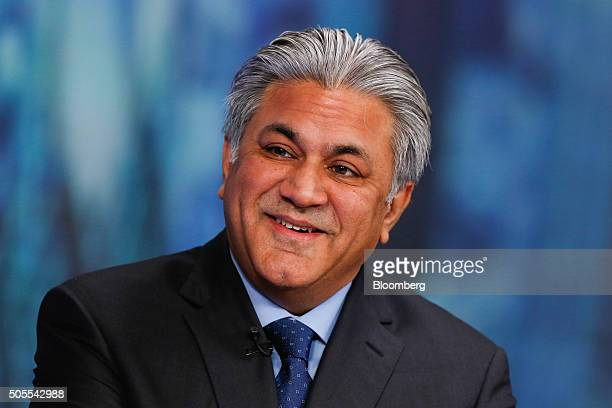 Arif Naqvi chief executive officer of Abraaj Capital Ltd reacts during a Bloomberg Television interview in London UK on Monday Jan 18 2016 Brent...