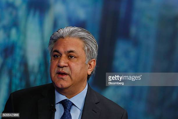 Arif Naqvi chief executive officer of Abraaj Capital Ltd speaks during a Bloomberg Television interview in London UK on Monday Jan 18 2016 Brent...