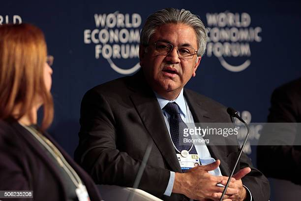 Arif Naqvi chief executive officer of Abraaj Capital Ltd speaks during a panel session at the World Economic Forum in Davos Switzerland on Friday Jan...