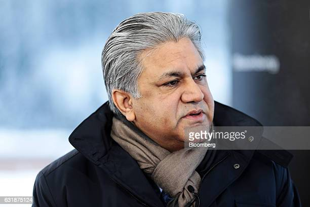 Arif Naqvi chief executive officer of Abraaj Capital Ltd speaks during a Bloomberg Television interview at the World Economic Forum in Davos...