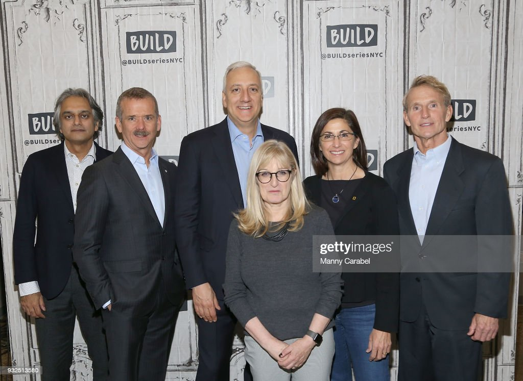 Arif Nurmohamed, Chris Hadfield, Mike Massimino, Jane Root, Nicole Stott, and Jerry Linenger visit Build Series at Build Studio on March 15, 2018 in New York City.