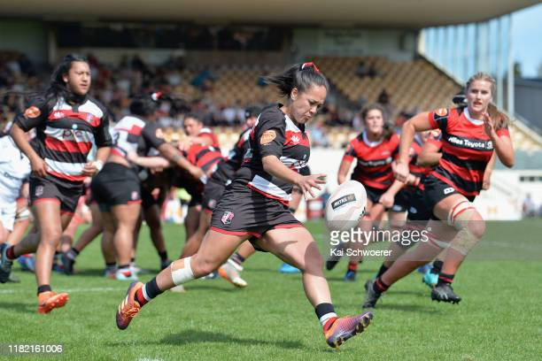 Arihiana MarinoTauhino of Counties kicks the ball during the Farah Palmer Cup Premiership Semi Final match between Canterbury and Counties Manukau at...