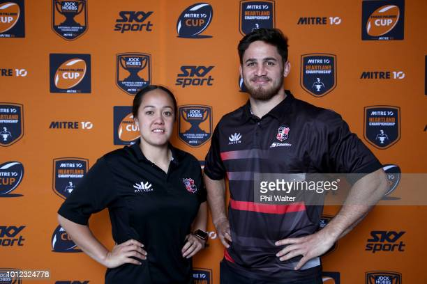 Arihiana MarinoTauhinu and Sam Henwood from Counties Manukau pose for a portrait during the Mitre 10 Cup an Farrah Palmer Cup Season Launch at the...